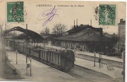 CPA 01 AMBÉRIEU Intérieur De La Gare (avec Train En Gare) 1915 - Sonstige Gemeinden