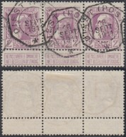 BELGIQUE COB 80 BANDE DE 3 OBL TELEGRAPHIQUE DIEST (POSTE) 16/09/1911 (DD) DC-2347 - 1905 Grosse Barbe