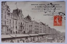 Oostende, Ostende, Hôtel De L'Océan Et Carlton Restaurant, Digue - Illustrateur, 1908, Cpa, Postkaart - éditeur Michau - Oostende