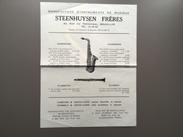 BRUSSEL - BRUXELLES - Publicité Originale - Steenhuysen - Instruments De Musique - Clarinette - Saxophones - Belgique