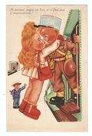 CP Militaria Humour Illustrateur Leclerc (?) - Petite Fille Rouquine Petit Garçon - Chef De Gare Wagon - Leclerc