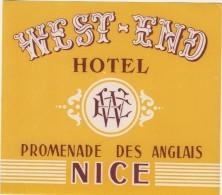 Etiquette Hôtel West End NICE - Etiquettes D'hotels