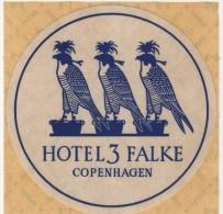 Etiquette Hôtel Autocollant 3 Falke Copenhagen Faucon - Etiquettes D'hotels