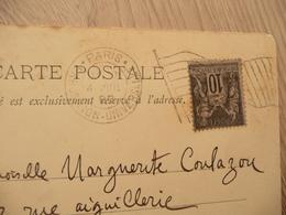 Lettre France Sur CPA Paris Exposition 1900 Oblitération Drapeau 04/07/1899 - Marcophilie (Lettres)