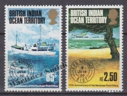 British Indian Ocean 1974 Yvert 57- 58, Fifth Anniversary Of The Nordvaer Post Office - MNH - British Indian Ocean Territory (BIOT)