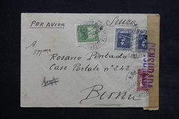 ESPAGNE - Enveloppe Pour La Suisse En 1937 Avec Contrôle Postal , Affranchissement Plaisant - L 24989 - 1931-50 Briefe U. Dokumente