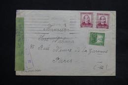 ESPAGNE - Enveloppe De Barcelone Pour Paris En 1937 Avec Contrôle Postal , Affranchissement Plaisant - L 24990 - 1931-50 Briefe U. Dokumente