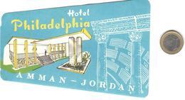 ETIQUETA DE HOTEL  -HOTEL PHILADELPHIA  -AMMAN  -JORDANIA - Adesivi Di Alberghi