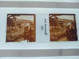 Beaumont S Oise 1930 Stéréo Sur Verre Plaque De Verre Françe Construction - Diapositivas De Vidrio
