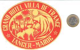 ETIQUETA DE HOTEL  -GRAND HOTEL VILLA DE FRANCE  -TANGER  -MAROC - Etiquetas De Hotel