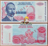 Bosnia And Herzegovina 10000000000 Dinara 1993 UNC Specimen - Bosnie-Herzegovine