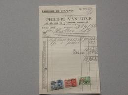 Bruxelles Fabrique De Chapeaux Philippe Van Dyck Facture 1936 - Belgique