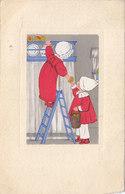 Cpa 2 Scans Illustrateur Enfants (pays Bas ??) Monté Sur Escabeau Ramassant Des Pommes 1926 - Illustrators & Photographers