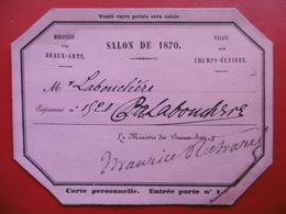 AUTOGRAPHE LABOUCHERE PAUL ANTOINE ARTISTE PEINTRE SUR CARTE SALON DE 1870 - Autographes