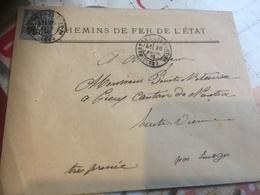 Enveloppe Chemins De Fer De L'état 1888 Très Pressée Par Limoges - France
