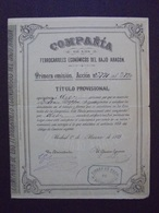 NOUVEAU - ESPAGNE - CIE DE LOS FERROCARILES DEL BAJO ARAGON - TITRE PROVISOIRE DE  10 ACTIONS - MADRID 1889 - Shareholdings