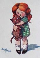 Cpa ILLUSTRATEUR ENFANTS PETITE FILLE ET SON CHAT . CUTE GIRL & CAT KITTEN  A/s DONALD MC GILL OLD PC COMIC - Cartes Humoristiques