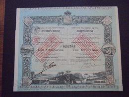 ESPAGNE - CIE DES CHEMINS DE FER DE PORTO RICO - OBLIGATION  500 FRS - MADRID 1888 - BELLE ILLUSTRATION - Shareholdings