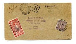 France, N°119 + 133 Sur Lettre Recommandée - 2 Scans - (B2211) - Marcophilie (Lettres)