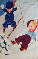 Cpa  ILLUSTRATEUR  ALDAN , ENFANTS SKIS  & LUGE , ATTENTION OBSTACLE , Children On Ski & Sledge A/s OLD COMIC PC - Cartes Humoristiques