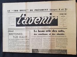 JOURNAL L'AVENIR - Défense Des Intérêts De La BRETAGNE - Mensuel - Parution Octobre 1960 (visite De De Gaulle) - 1950 - Today
