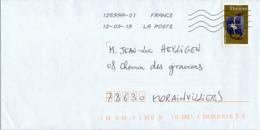 """2018 : Timbre Postal Adhésif """"Théière, Chine-Jiangsu"""", Seul Sur Lettre - 1961-...."""