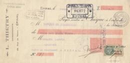 CHEQUE L. THIETRY ENTREPRENEUR A EPINAL VOSGES - MARQUE FISCALE ET FISCAL - France