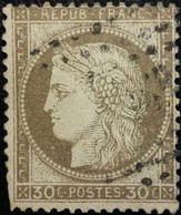 FRANCE Y&T N°56c Cérès 30c Brun. Oblitéré. Fond Ligné - 1871-1875 Ceres