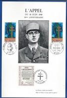 Encart Général De Gaulle  L'Appel Du 18 Juin 30 ° ANNIVERSAIRE   Oblitération: Ile De Sein 18 Juin 1970 - De Gaulle (General)