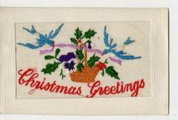 SILK EMBROIDERED CHRISTMAS GREETINGS 1916 VINTAGE POSTCARD #90758 - Brodées