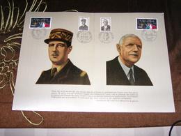 Encart Général De Gaulle  L'Appel Du 18 Juin 40 ° Anniversaire Et 10° Anniv   Oblitération:Paris 18 VI 1980 - De Gaulle (General)