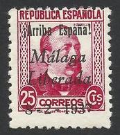 Spain, Malaga 25 C. 1937, Sc # 10L13, Mi # 13, MH - Nationalist Issues