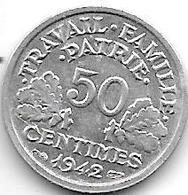 France 50  Centimes 1942  Km 914.1   Unc !!! - France