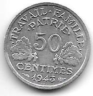 France 50  Centimes 1943  Km 914.1   Xf+ !!! - France