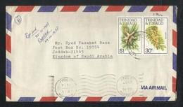 Trinidad & Tobago To Saudi Arabia 1987 Air Mail Postal Used Cover Flower Plant - Trinité & Tobago (1962-...)
