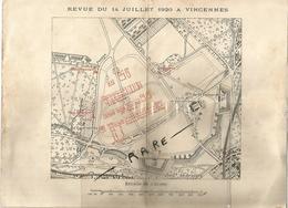 Vieux Papier Militaria Revue Du 14 Juillet 1920 A Vincennes Ordre De Bataille 28x 21 Cm Env - Documents