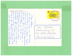 1989 ANTILLE AIR MAIL POSTCARD WITH 1 STAMP TO SWISS - Antille