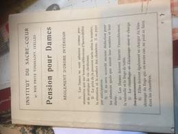 IXELLES INST.Sacre Cœur Pension Pour Dames Règlement - 1929 - Vieux Papiers