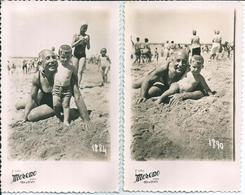 BOY GARCON & GRANDFATHER GRAND-PÈRE Together S Nude In Swimsuit By Beach Plage Lot Of Two ( 2 ) CP 1946 - Anonymous Persons