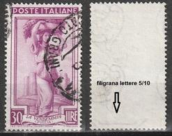 Filigrana Lettere Bassa 5/10 - 30 Lire Ruota 3° DB Italia Al Lavoro - 6. 1946-.. Repubblica