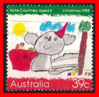 AUSTRALIA (OCEANIA)  SELLO AÑO  1988 NAVIDAD. DIBUJOS INFANTILES - 1980-89 Elizabeth II
