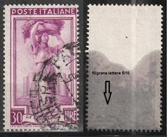 Filigrana Lettere Bassa 5/10 - 30 Lire Ruota 1° DB Italia Al Lavoro - 6. 1946-.. Repubblica