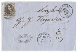 1859 VOORZIJDE BRIEF VAN VERVIERS P123 NAAR E/V MET COB 10A / ZIE SCAN(S) - 1858-1862 Médaillons (9/12)