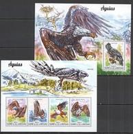 SS701 2015 GUINE GUINEA-BISSAU FAUNA BIRDS EAGLES AGUIAS  KB+BL MNH - Aigles & Rapaces Diurnes