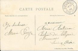 ESSONNE 91 -  MARCOUSSIS  - CACHET RECETTE  N° R A3 - 1904  - VARIANTE : MANQUE JOUR ET MOIS -  CATALOGUE A. LAUTIER - Poststempel (Briefe)