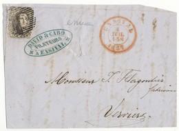 1857 VOORZIJDE BRIEF VAN ENSIVAL P175 NAAR VERVIERS MET COB 6 ZIE SCAN(S) - 1858-1862 Médaillons (9/12)