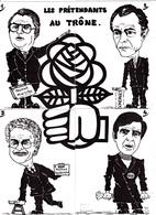 """Puzzle 4 CPSM Hommes Politique Caricature Socialiste """"Les Prétendants Au Trône"""" Tirage Limité Illustrateur LARDIE - A Systèmes"""