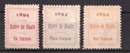 Guatemala - 1894 - Fiscaux-postaux N° 1 à 3 - Neufs ** - Guatemala