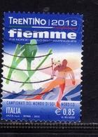 ITALIA REPUBBLICA ITALY REPUBLIC 2013 CAMPIONATI DEL MONDO DI SCI NORDICO VAL DI FIEMME EURO 0,85 USATO USED OBLITERE' - 6. 1946-.. Repubblica