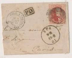 1861 VOORZIJDE BRIEFJE VAN SPA P110 NAAR PARIS MET COB 12 + PD ZIE SCAN(S) - 1858-1862 Médaillons (9/12)
